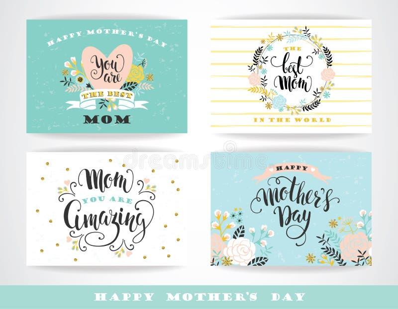 Ensemble de cartes de voeux heureuses de lettrage de jour de mères avec des fleurs illustration de vecteur