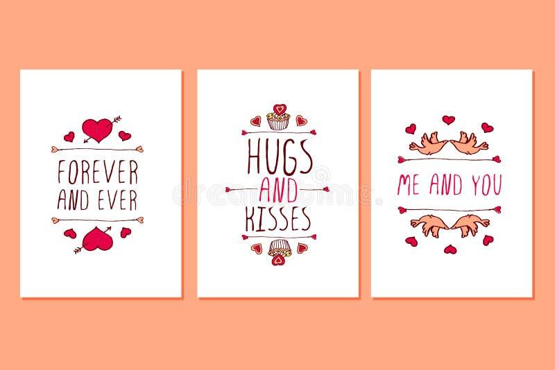 Ensemble de cartes de voeux tirées par la main de jour de valentines de saint illustration stock