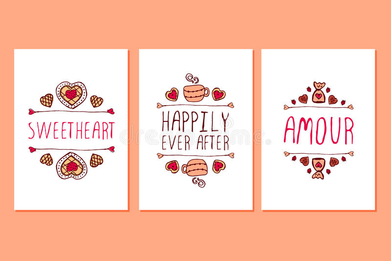 Ensemble de cartes de voeux tirées par la main de jour de valentines de saint illustration de vecteur