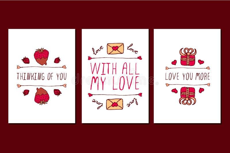 Ensemble de cartes de voeux tirées par la main de jour de valentines de saint illustration libre de droits