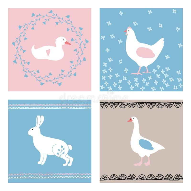 Ensemble de cartes de voeux tirées par la main de Pâques, invitations avec des animaux de ferme Lapin mignon, poule, canard, oie  illustration stock