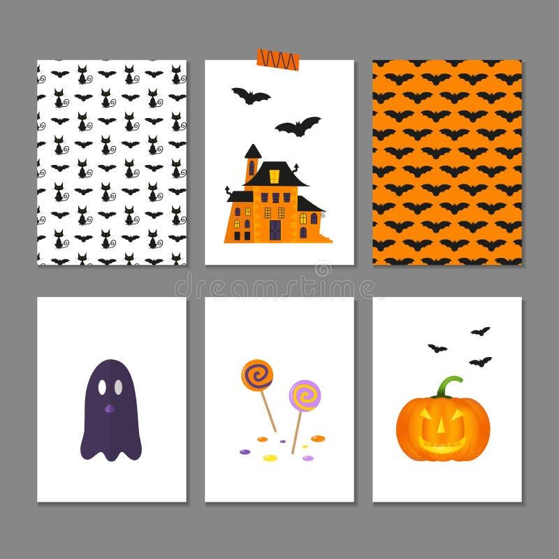 Ensemble de 6 cartes et modèles mignons de Halloween illustration de vecteur