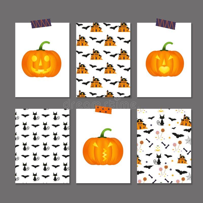 Ensemble de 6 cartes et modèles mignons de Halloween illustration stock