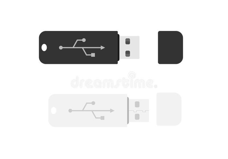 Ensemble de cartes flash d'usb illustration stock