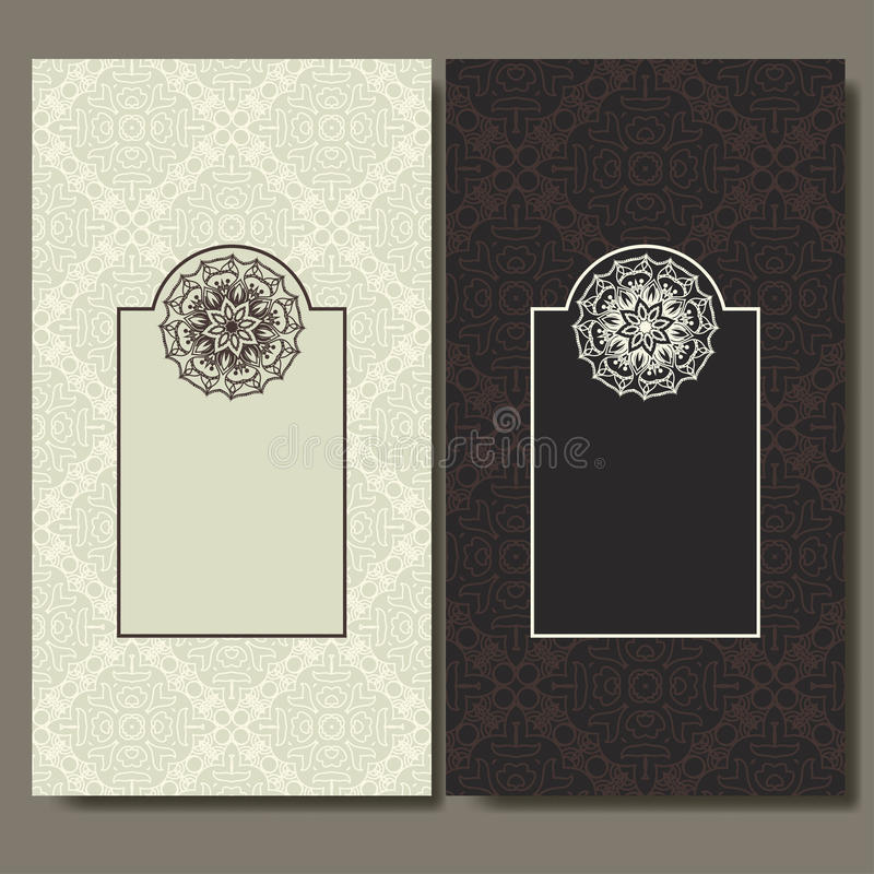 Ensemble de cartes La conception fleurie peut utilisé pour la carte de visite professionnelle d'invitation, de salutation ou de v illustration stock