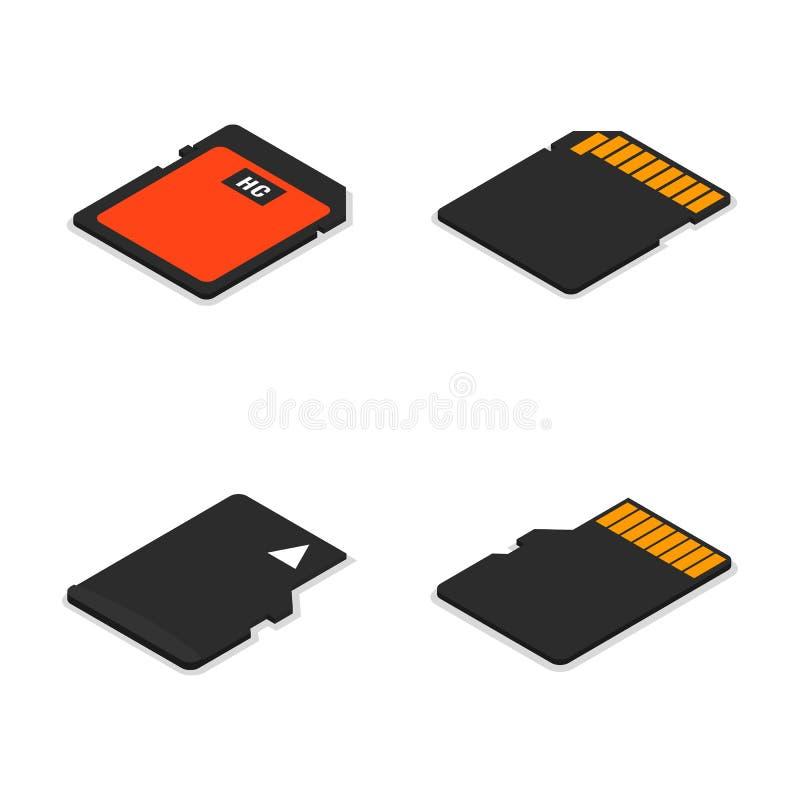 Ensemble de cartes de la mémoire 3D isométriques, illustration de vecteur illustration stock