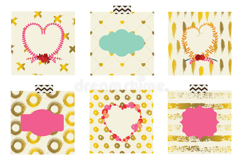Ensemble de cartes mignonnes pour célébrer le jour du ` s de Valentine illustration de vecteur