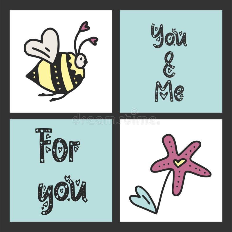 Ensemble de cartes mignonnes de vecteur pour le jour du ` s de St Valentine avec des illustrations et des messages de lettrage illustration de vecteur