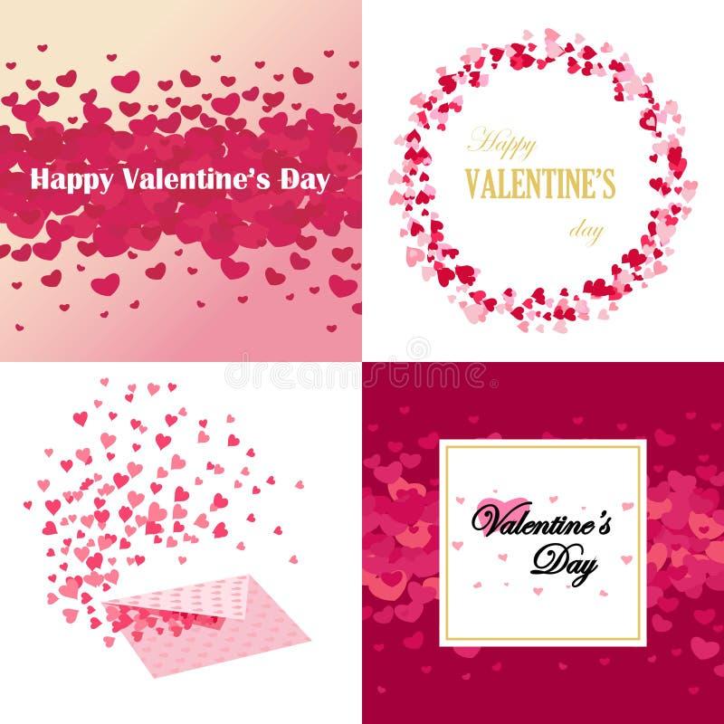 Ensemble de cartes, de milieux et de bannières de conception de jour de valentines illustration de vecteur
