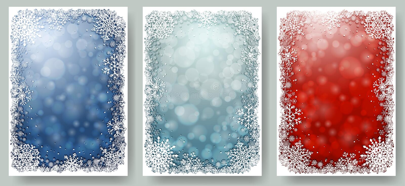 Ensemble de cartes de Noël avec le cadre des flocons de neige illustration stock
