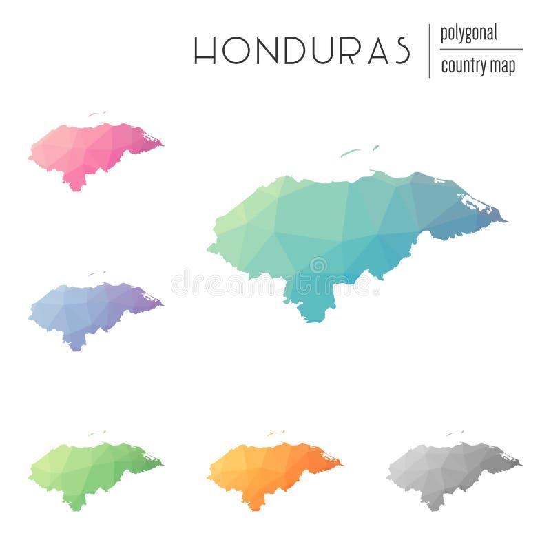 Ensemble de cartes polygonales du Honduras de vecteur illustration stock