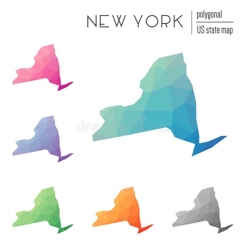 Ensemble de cartes polygonales de New York de vecteur illustration stock