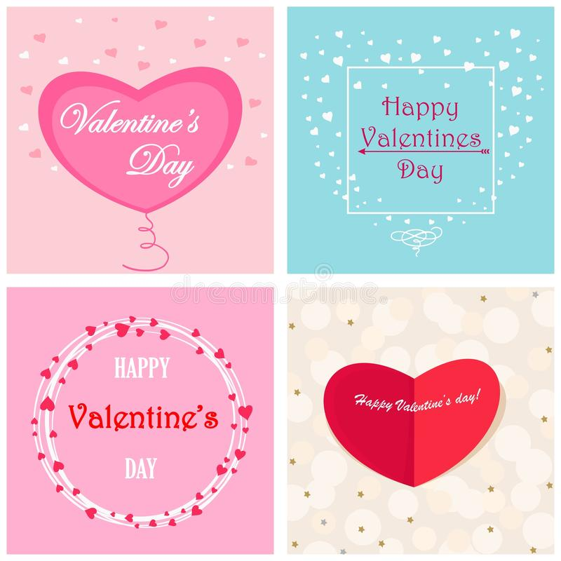 Ensemble de cartes postales avec des coeurs, jour de valentines heureux illustration stock