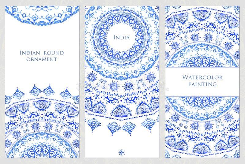 Ensemble de cartes postales avec le modèle indien Mandala Design illustration libre de droits