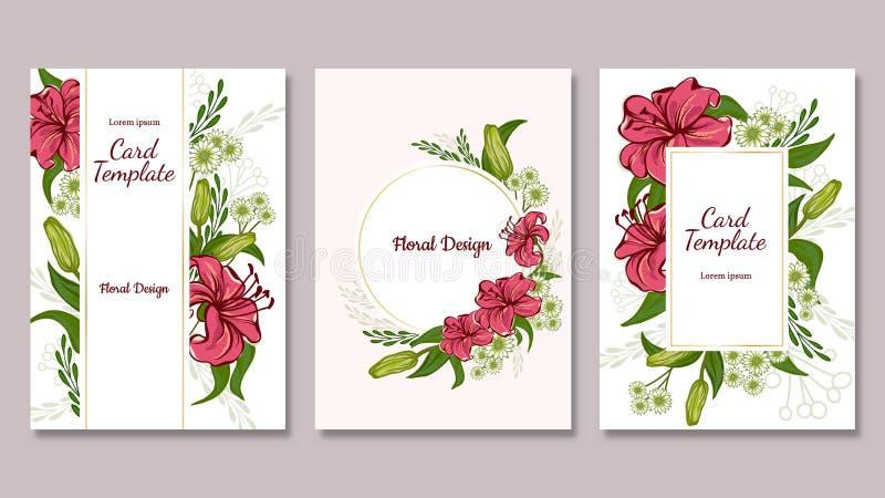 Ensemble de cartes postales Lis rose et Hrizantema avec les feuilles vertes Fleurs romantiques de jardin de vecteur illustration stock