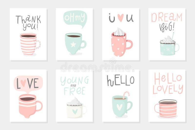 Ensemble de 8 cartes romantiques de cadeau prêt à employer mignon avec des tasses illustration de vecteur