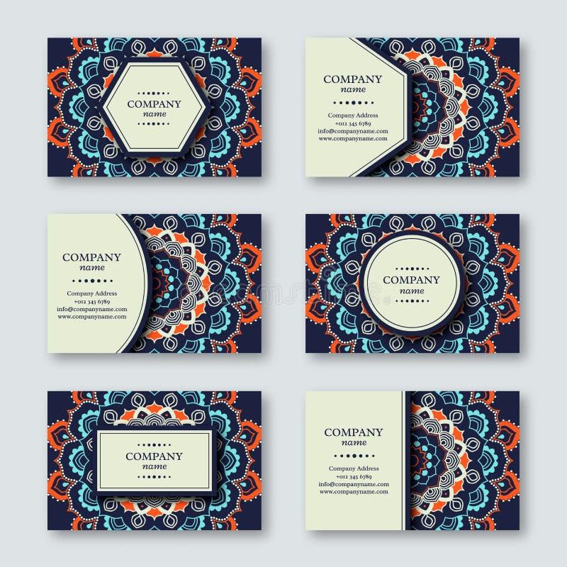 Ensemble de cartes tirées par la main ornementales de mandala, affaires, t de visite illustration libre de droits