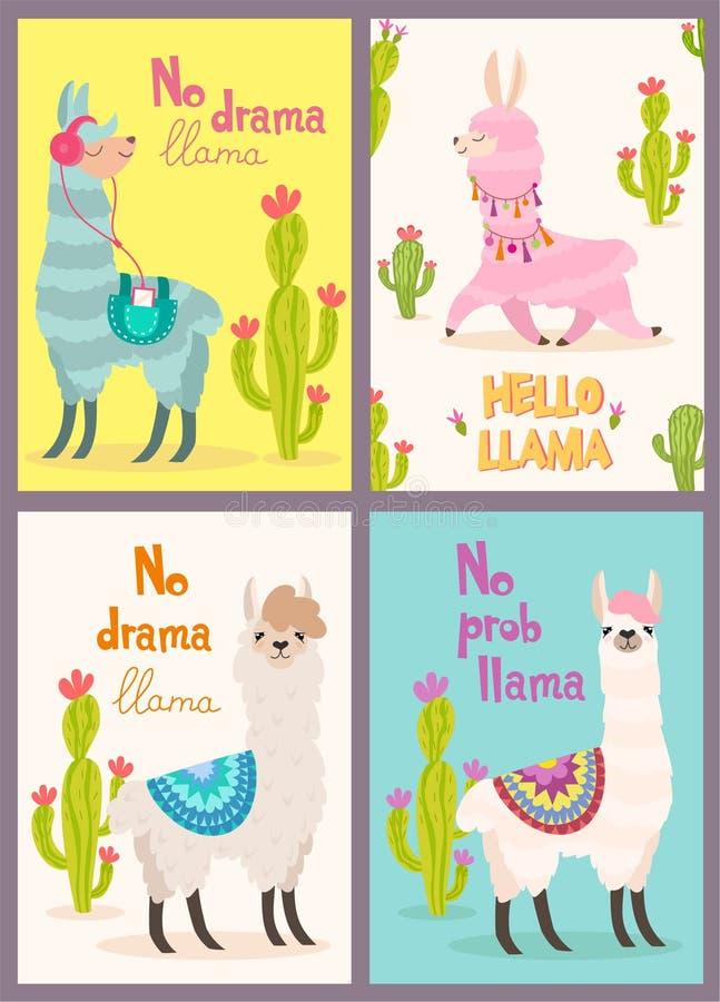 Ensemble de cartes de voeux avec le lama Lama stylisé de bande dessinée avec la conception et le cactus d'ornement Affiche de vec illustration libre de droits