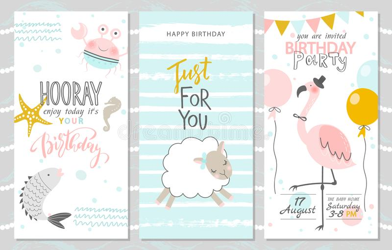 Ensemble de cartes de voeux d'anniversaire et de calibres d'invitation de partie avec les poissons mignons, le crabe, l'agneau et illustration stock