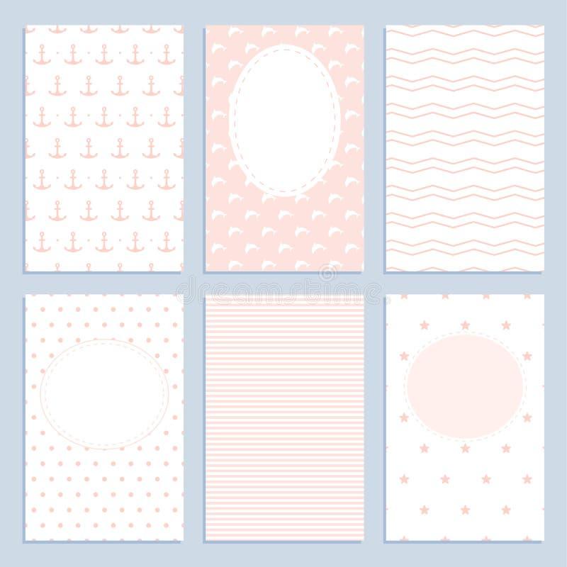 Ensemble de cartes de voeux dans un style marin pour des filles illustration libre de droits