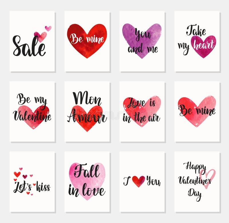 Ensemble de cartes de voeux heureuses de jour du ` s de Valentine illustration stock