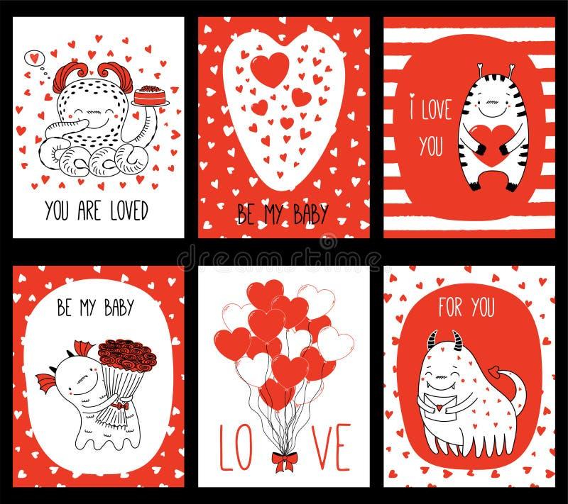 Ensemble de cartes de voeux de jour de valentines avec les monstres mignons illustration de vecteur