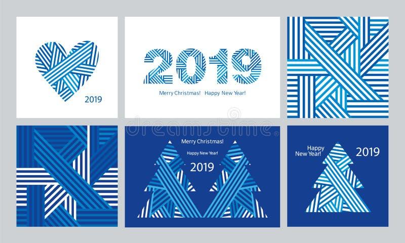 Ensemble de cartes de voeux modernes et de modèles sans couture Bonne année 2019 Joyeux Noël Fond bleu-foncé illustration stock