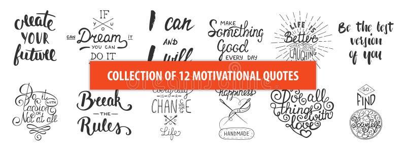 Ensemble de cartes de voeux uniques tirées par la main de typographie de vecteur de motivation et inspiré, décoration, calibre, c illustration libre de droits