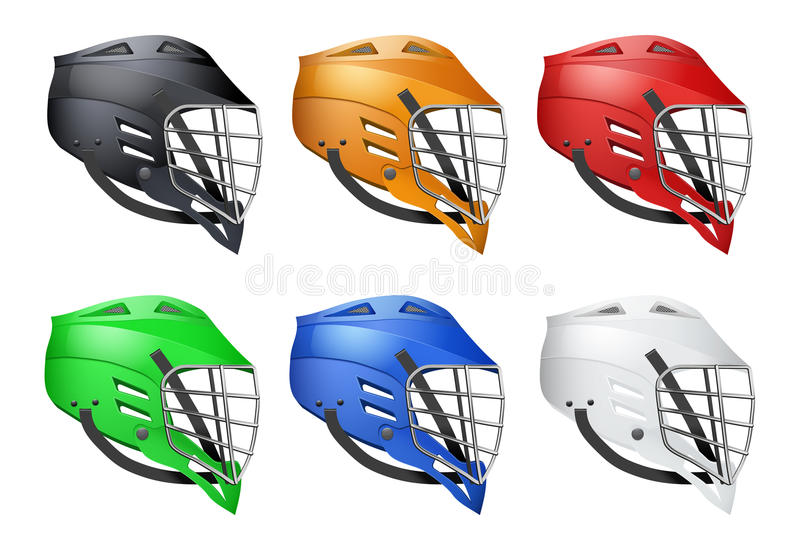 Ensemble de casques de lacrosse illustration de vecteur