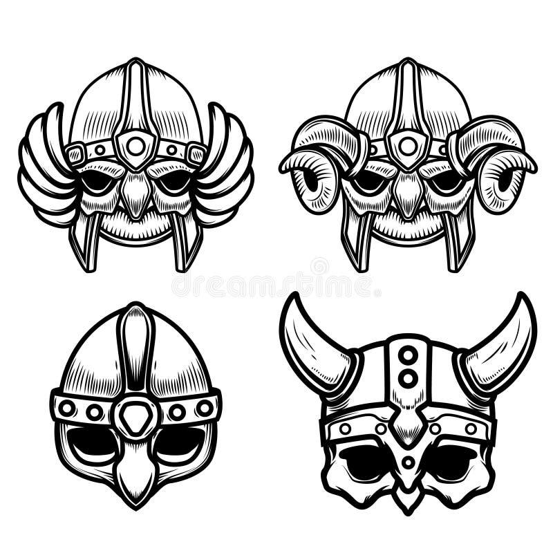 Ensemble de casques de Viking d'isolement sur le fond blanc Concevez l'élément pour le logo, label, signe illustration stock