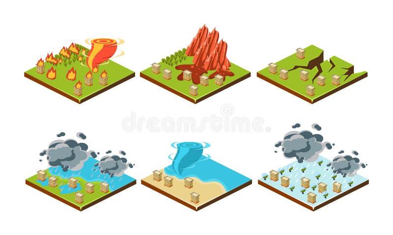 Ensemble de catastrophes naturelles, éboulement, tremblement de terre, ouragan, inondation, orage, illustration de vecteur de tsu illustration de vecteur