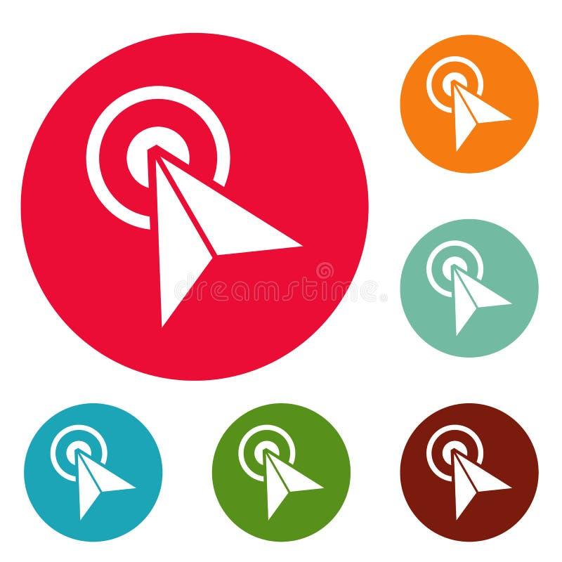 Ensemble de cercle d'icônes d'élément de technologie de curseur illustration libre de droits