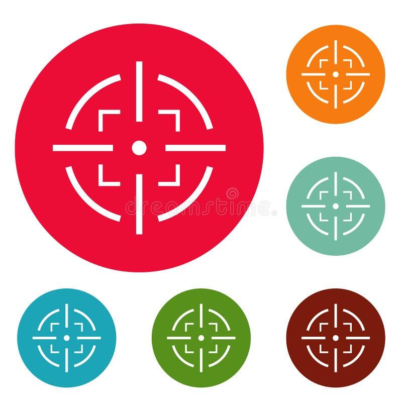 Ensemble de cercle d'icônes de but illustration libre de droits