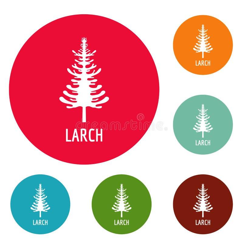 Ensemble de cercle d'icônes d'arbre de mélèze illustration libre de droits