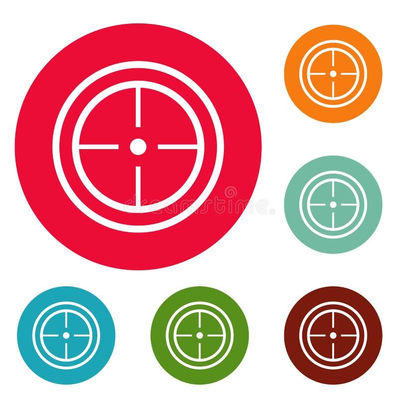 Ensemble de cercle d'icônes de but de sport illustration stock
