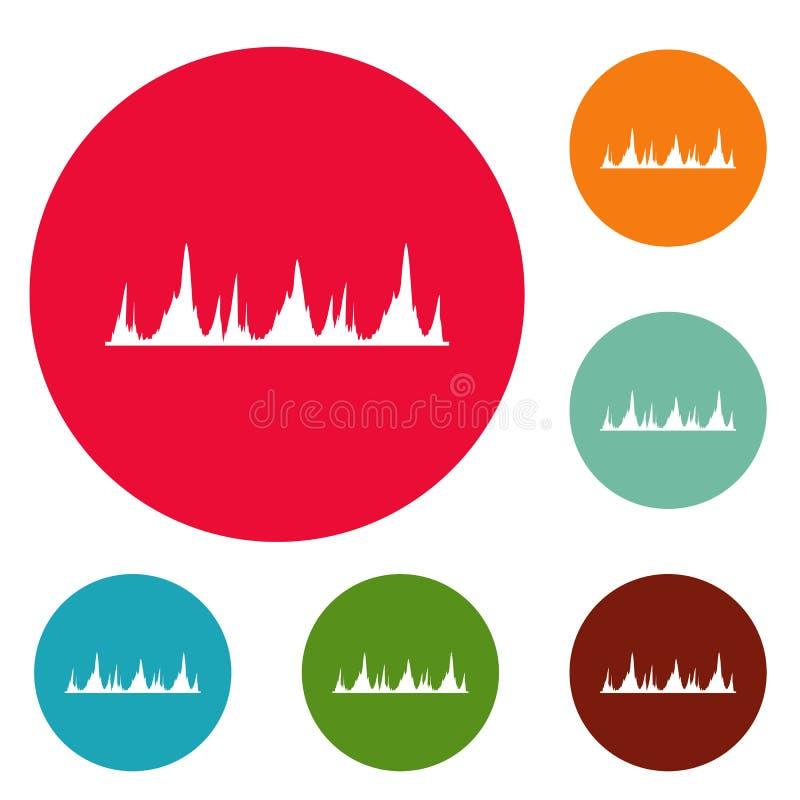 Ensemble de cercle d'icônes de technologie d'égaliseur illustration stock