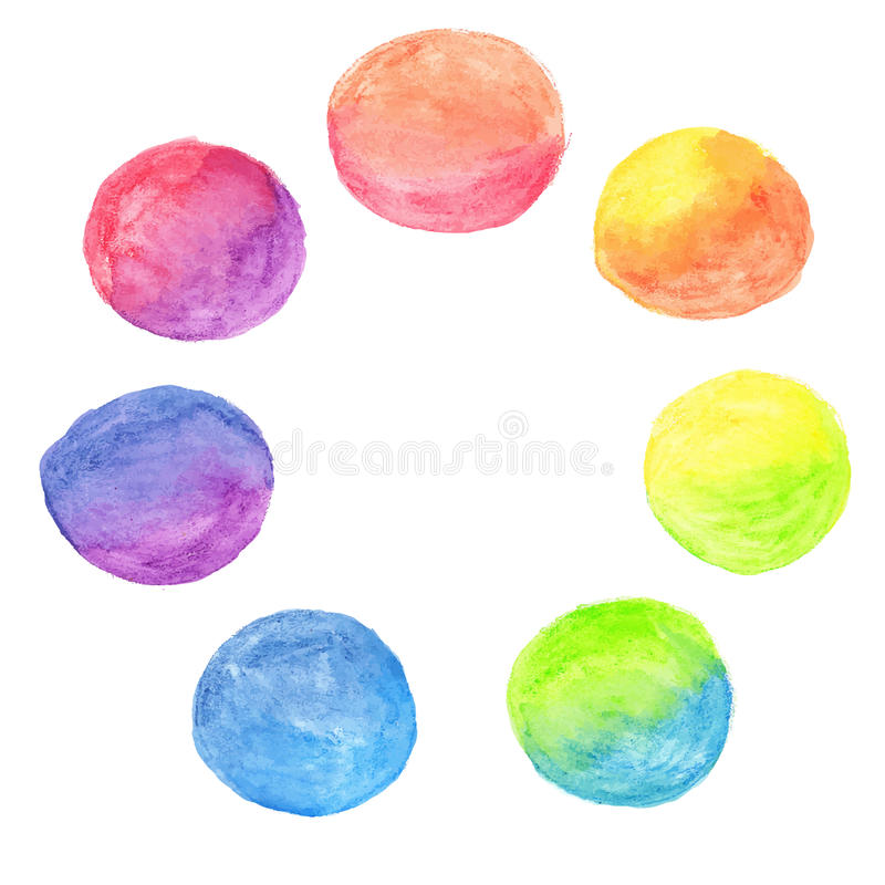 Ensemble de cercles d'aquarelle d'arc-en-ciel illustration stock