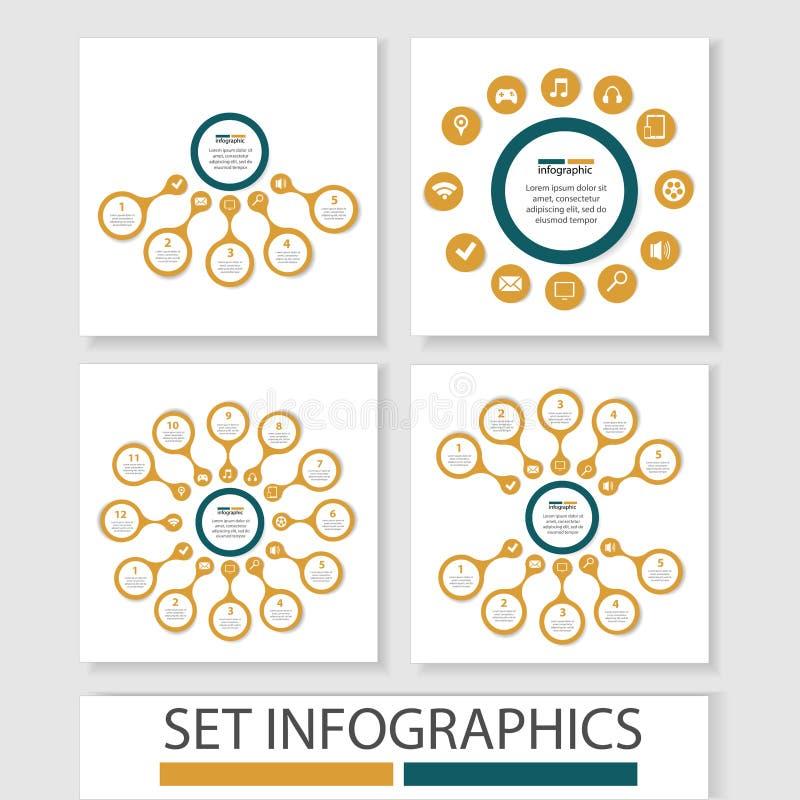 Ensemble de cercles de vecteur et d'autres éléments pour infographic Calibre pour le diagramme de cycle, graphique, présentation illustration libre de droits