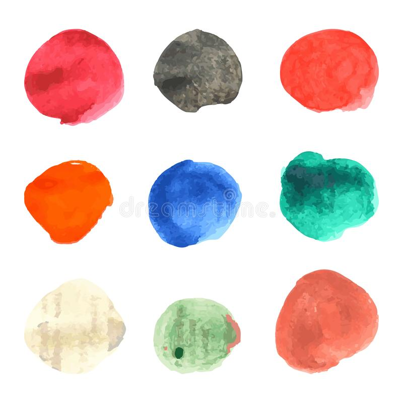 Ensemble de cercles en pastel de vecteur d'aquarelle illustration stock