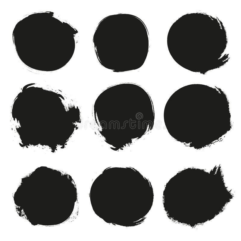 Ensemble de cercles grunges noirs illustration stock