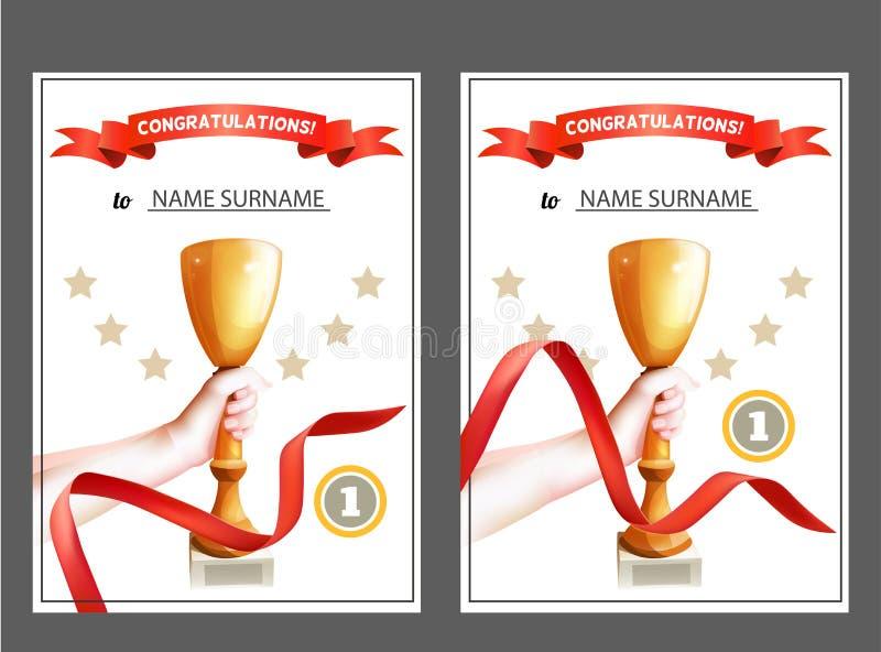 Ensemble de certificat de gagnant avec la tasse de trophée et le ruban rouge Diplôme pour le premier endroit Descripteur de vecte illustration libre de droits