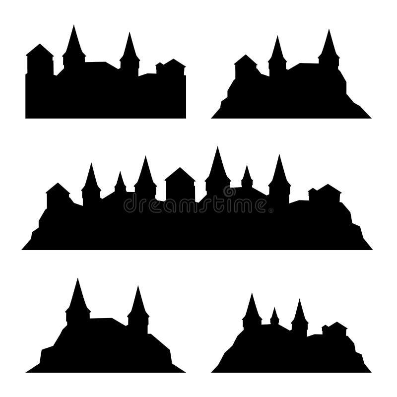 Ensemble de château médiéval classique, forteresse, silhouetes de forteresse illustration stock