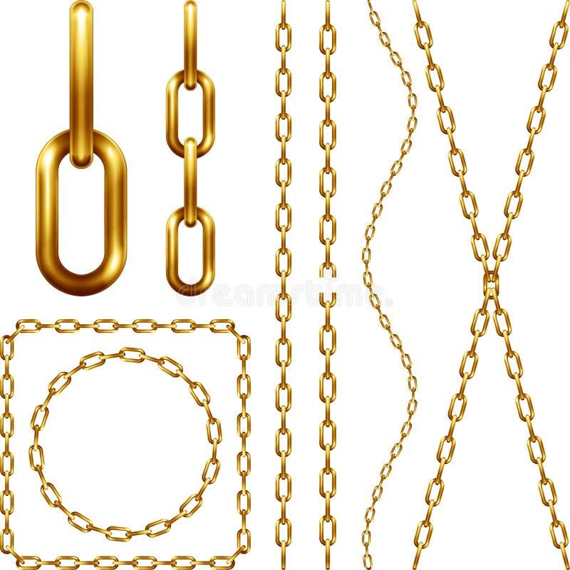 Ensemble de chaîne d'or illustration stock