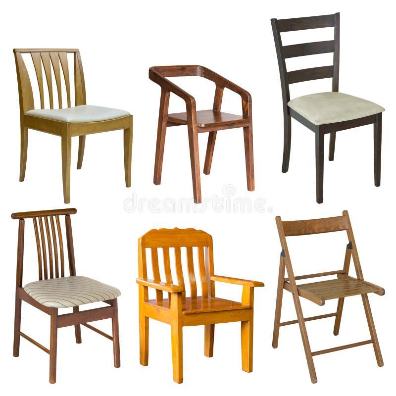 Ensemble de chaise en bois sur le blanc image libre de droits