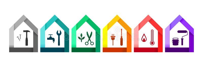 Ensemble de Chambre avec de divers outils de travail comme concept de bâtiment et de construction illustration libre de droits