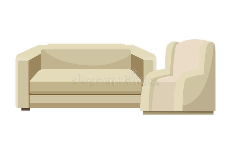 Ensemble de Chambre de meubles de fauteuils de sofa illustration de vecteur