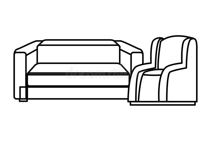 Ensemble de Chambre de meubles de fauteuils de sofa en noir et blanc illustration de vecteur