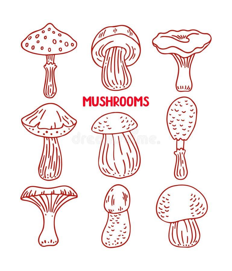 Ensemble de champignons de croquis illustration libre de droits