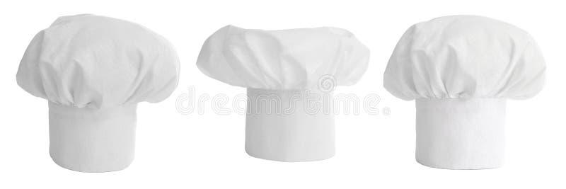 Ensemble de chapeau ou de capuchon de cuisinier d'isolement photo libre de droits