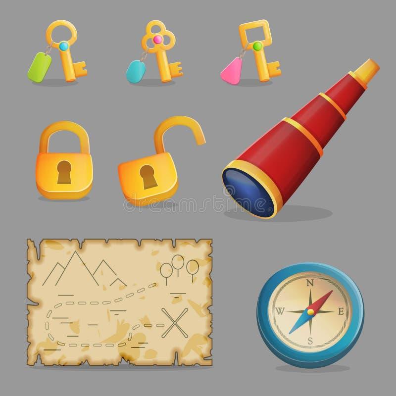 Ensemble de chasse de trésor d'icônes de jeu illustration libre de droits